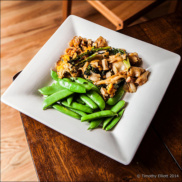 Pad See Ew with tofu and green beans